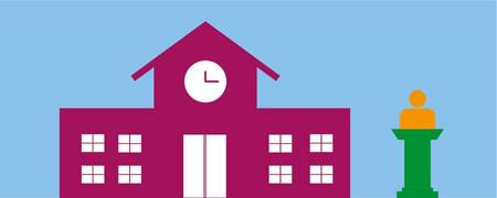 Illustration: Symbolbild für Rathaus, daneben eine Person am Rednerpult  - Link auf: Bürgermeisteramt und Rat