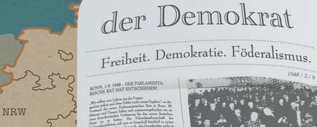 """Zeichnung der Zeitung """"Der Demokrat""""  - Link auf: Print"""