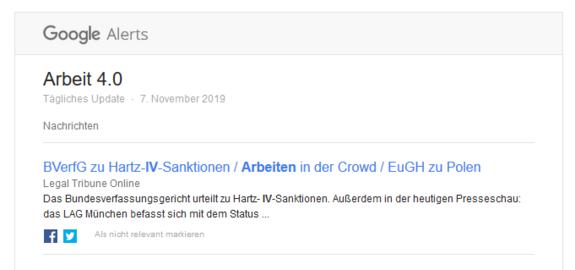 """Das Bild zeigt den News-Alert """"Arbeit 4.0"""" von Google. Als E-Mail laufen die Nachrichten ein, die der Alert zu diesem Stichwort im Internet gefunden hat."""