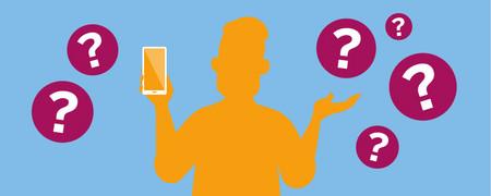 Symbole: Fragezeichen um Person mit Smartphone in der Hand  - Link auf: Welche Apps gibt es?