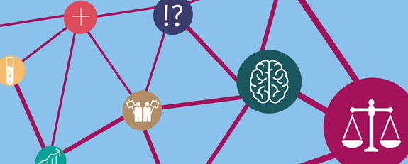 Grafik eines Netzes, das verschiene Symbole verbindet: eine Waage, ein Gehirn, demonstrierende Menschen, ein Fragezeichen und Ausrufezeichen