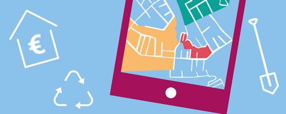 Grafik eines Smartphones mit einer Stadtkarte, eines Haus mit Euro-Zeichen, einem Recycle-Symbol, einer Schaufel