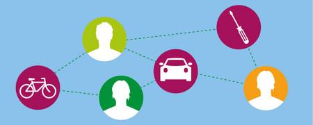 Symbole: Verschiedene Menschen, die durch Striche mit Auto, Fahrrad etc verbunden sind  - Link auf: Teilen und Leihen