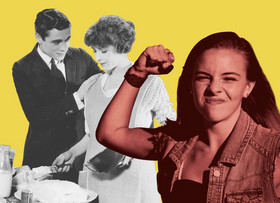 Mädchen im Vordergrund zeigt kämpferische Geste, im Hintergrund Schwarz-Weiß Bild eines stereotypischen Ehepaars.