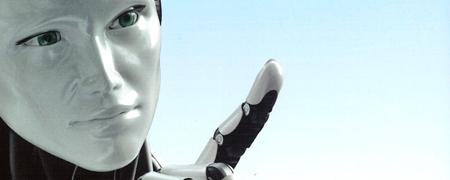 Das Gesicht eines humanoiden Roboters  - Link auf: It's alive