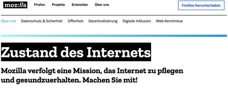 """Screenshot der Internetseite """"Mozilla Internet Health"""", foundation.mozilla.org/de/internet-health/  - Link auf: Mozilla Internet Health"""