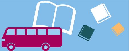Bus neben vier Büchern  - Link auf: Lesereisen. Es liest...