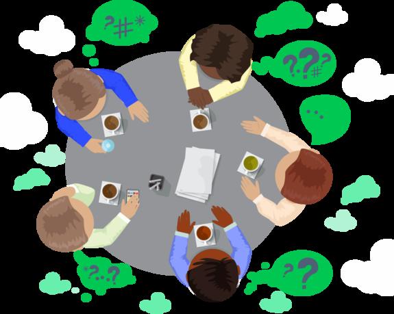 Grafik mit fünf Menschen an einem Tisch als Draufsicht von oben