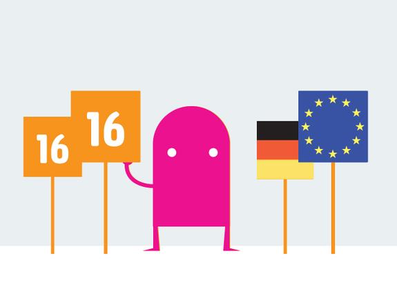 Grafik Figure mit Plakat 16 und Deutschland- sowie EU-Fahne