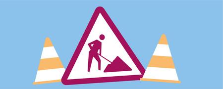 Illustration: Baustellenschild und Warnkegel  - Link auf: Welchen Handlungsspielraum haben Kommunen?