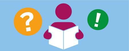 Symbole: Fragezeichen, lesender Mensch, Ausrufezeichen  - Link auf: Ratgeber