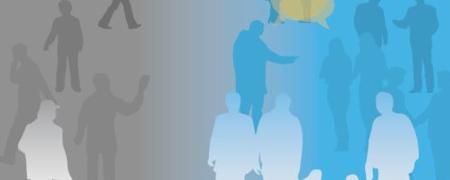 Bild mit Piktogramm von Menschen und Titel der Veranstaltung.  - Link auf: 21. Bocholter Forum