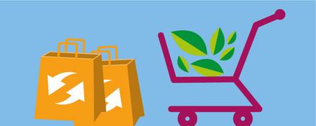 Symbole: Einkaufstaschen mit Recyclingzeichen, Einkaufswagen mit Blättern  - Link auf: Einkaufen