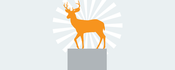 Grafik mit Hirsch auf einem Podest