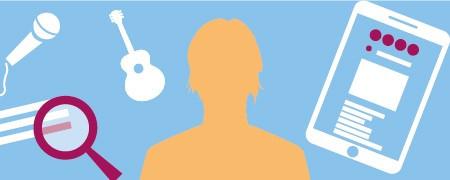 Grafische Darstellung einer Person umgeben von Symbolen für Tablet, Recherche, Gitarre und Mikrofon  - Link auf: Irina: Die Modern Etablierte