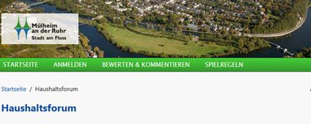 """Ausschnitt aus der Projektseite """"Haushaltsforum Mülheim an der Ruhr""""  - Link auf: Online-Haushaltsforum (Mülheim an der Ruhr)"""