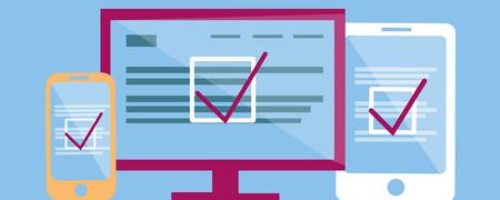 Grafik unterschiedlicher Bildschirme, auf denen ein Korrekturhaken zu sehen ist  - Link auf: Best Practice