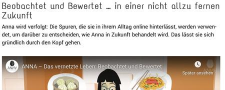 Screenshot der Internetseite www.annasleben.de  - Link auf: Anna – Das vernetzte Leben