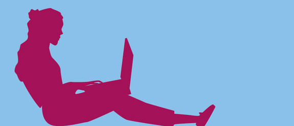 Grafik einer Person mit einem Laptop