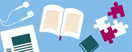 Nebeneinander Ohrhörer, ein Bericht, zwei Bücher und vier Puzzlestücke  - Link auf: Alle Titel