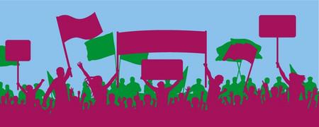 Illustration: eine Gruppe von Menschen bei einer Demonstration  - Link auf: Selbstbewusste Bürgerinnen und Bürger!