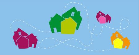 Illustration: Vier Symbole für Dörfer, die mit Linien verbunden sind  - Link auf: Gemeinsam stärker