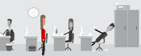 Screenshot aus Big Data Game mit vier Figuren und Schreibtischen