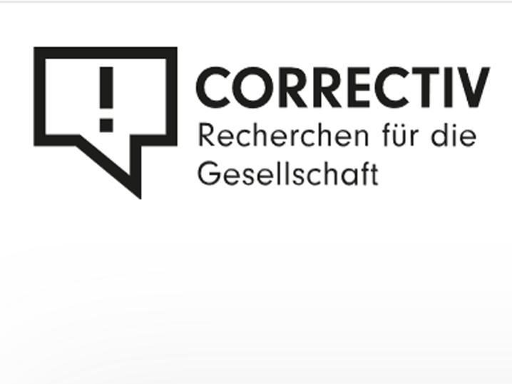 """Logo von Correctiv mit dem Schriftzug """"Recherchen für die Gesellschaft"""""""