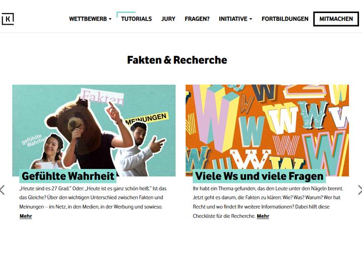 """Eine Seitenansicht der Website """"Klickwinkel"""""""