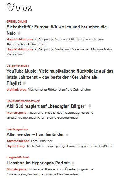 Der Screenshot zeigt beispielhaft die Nachrichtenleiste des Anbieters Rivva. Die Quellen des News-Aggregators lassen sich in viele Feed-Reader integrieren.
