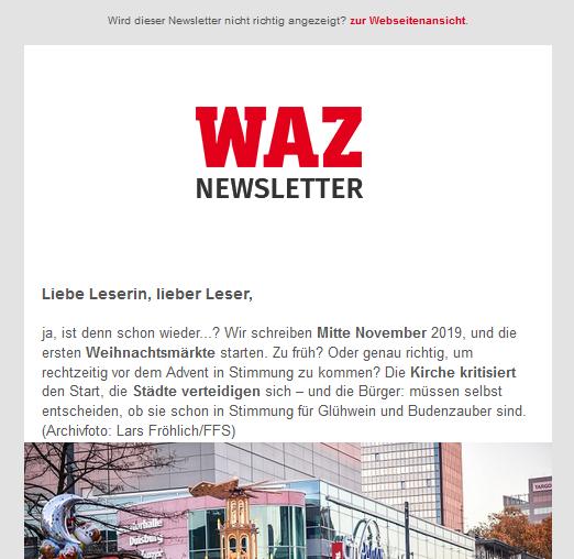 Der Screenshot zeigt den Anfang des täglichen Newsletters der Westdeutschen Allgemeinen Zeitung mit der Anrede und einem Ausschnitt des ersten Bildes.