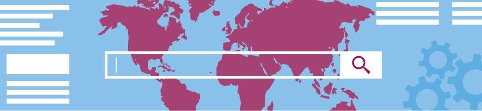 Bild zum Online-Special News-Room 4.0: Eine Weltkarte mit Suchleiste
