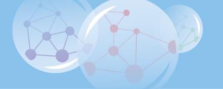 Das Bild zeigt drei Blasen, in denen  jeweils ein geschlossenes Netz mit Neuronen abgebildet ist. Es symbolisiert, wie sich Menschen in sogenannten Filterblasen von Teilen des öffentlichen  Diskurses abgrenzen.