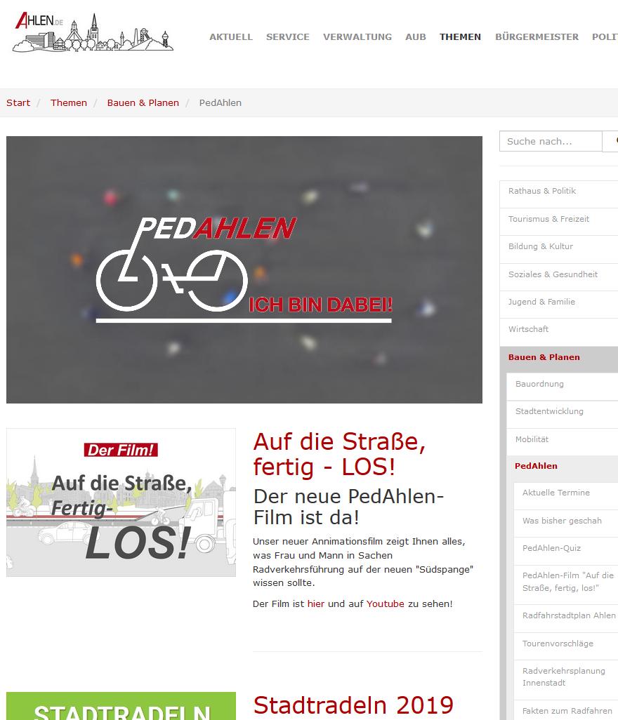 """Screenshot der Projektseite """"Pedahlen"""""""
