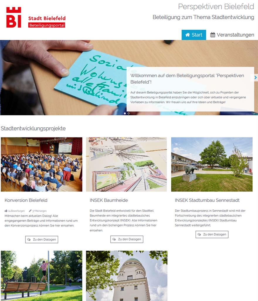 """Screenshot der Projektseite """"Perspektiven Bielefeld"""""""