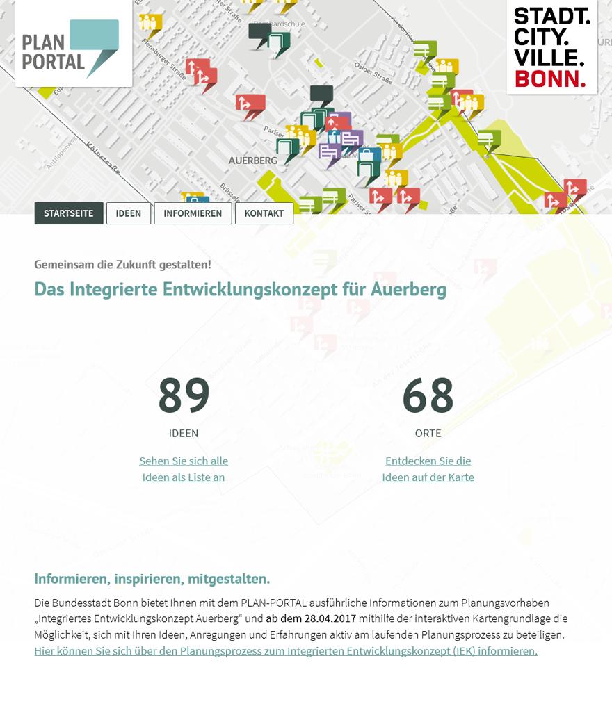 """Screenshot der Projektseite """"Integriertes Entwicklungskonzept Auerberg"""""""