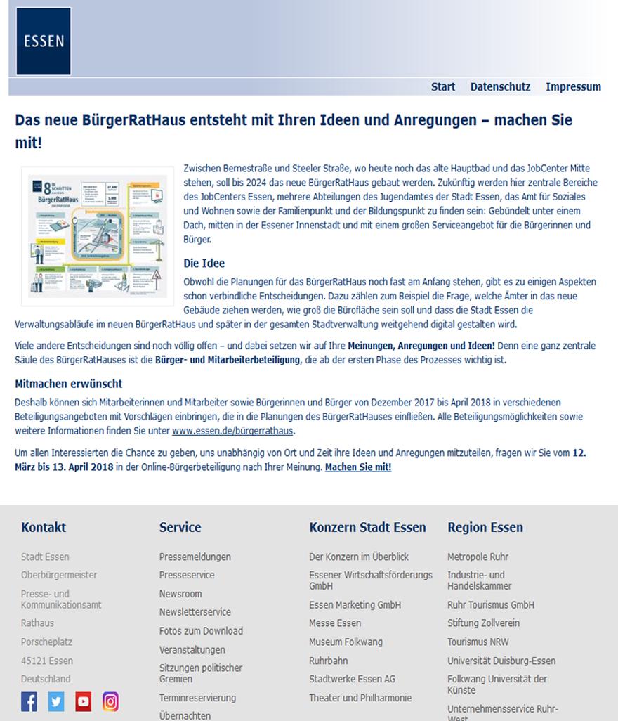 """Screenshot der Projektseite """"BürgerRatHaus"""" Essen"""