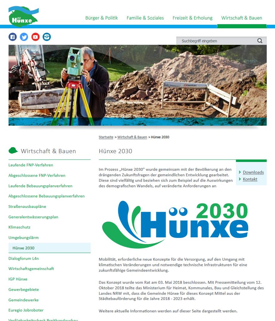 Screenshot der Projektseite Hünxe 2030