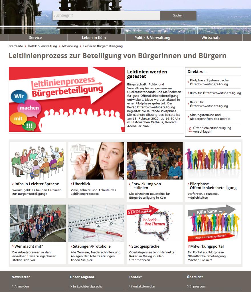 """Screenshot der Projektseite """"Leitlinienprozess Bürgerbeteiligung"""""""
