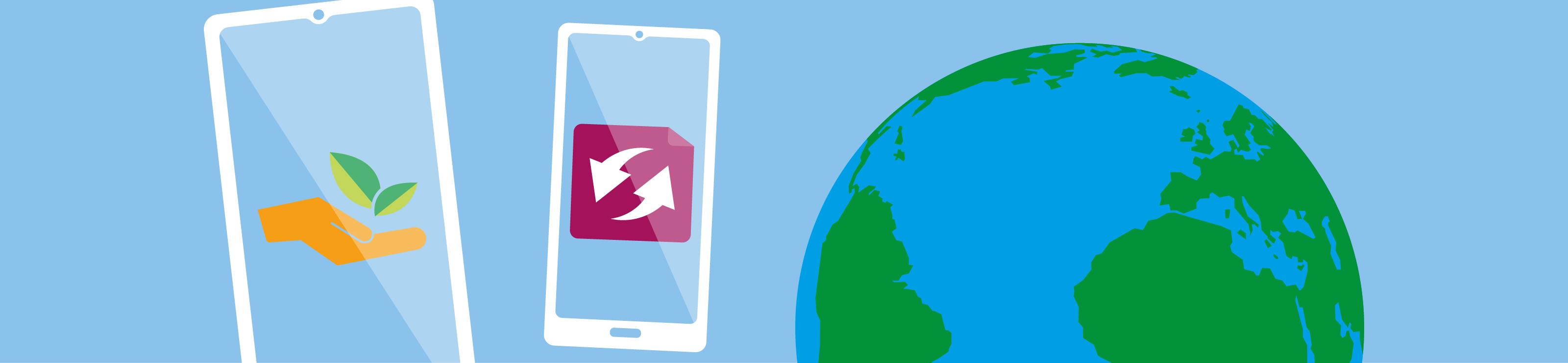 Symbole: Smartphones und Weltkugel