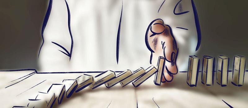 Illustration mit einer Hand, die eine Reihe fallender Dominosteine stoppt