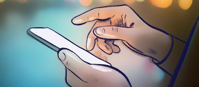 Illustration mit zwei Händen, die ein Smartphone bedienen