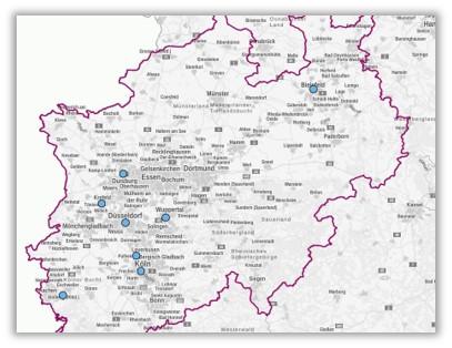 Karte der NRW mit den Demokratiewerkstätten