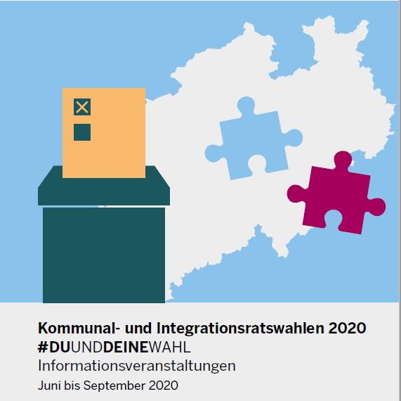 Grafik zu #DUUNDDEINEWAHL mit NRW-Karte auf der ein Puzzlestück fehlt und Wahlurne