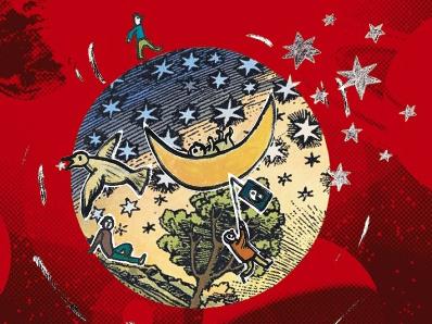 Eine Zeichnung von Globus mit Sternen und Mond auf dem roten Hintergrund