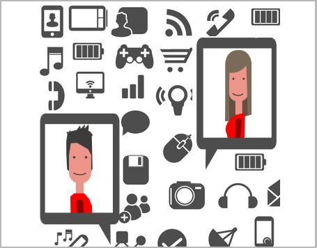 Illustration von zwei lächelnden Gesichtern in zwei Tablet-PCs