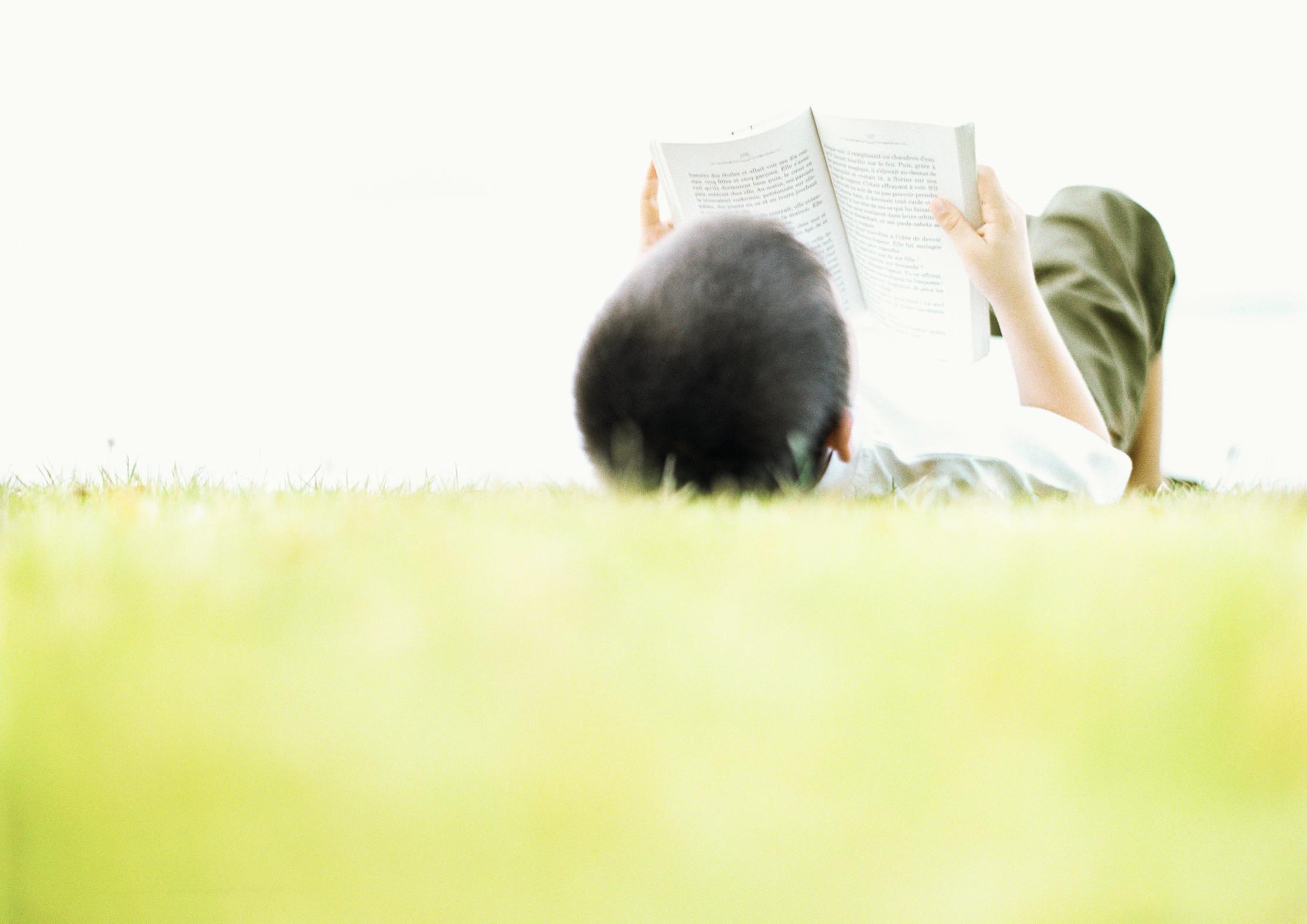Junge liegt im Gras und liest Buch.