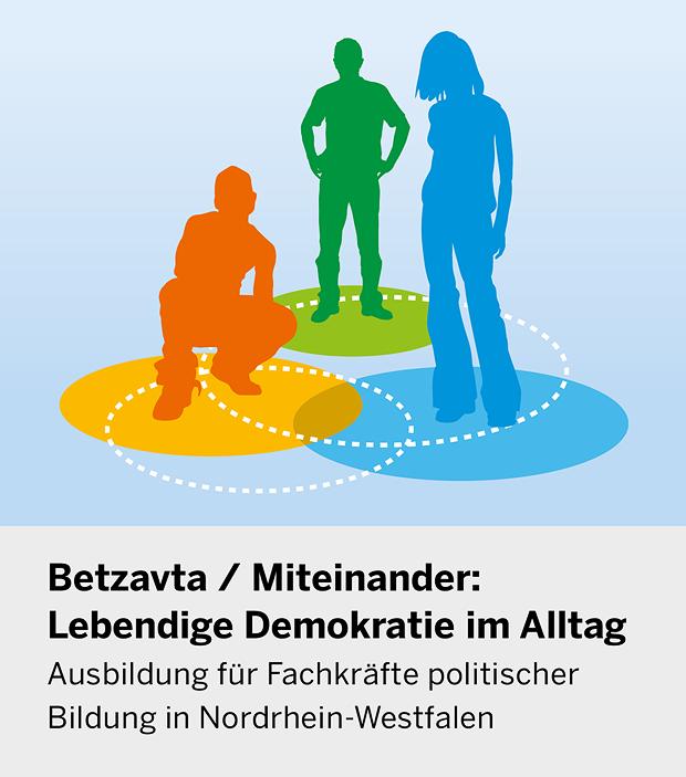 Das Titelbild des Flyers zeigt drei Silhouetten unterschiedlicher Menschen.