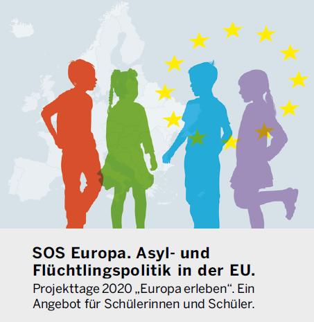 Grafik zeigt Umrisse von Europa, davor vier Kinder, darunter Titel der Veranstaltung