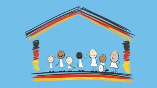 Logo des Bildungsprogramms: Ein Hausumriss in Farbe der deutschen Flagge mit Kindern darin